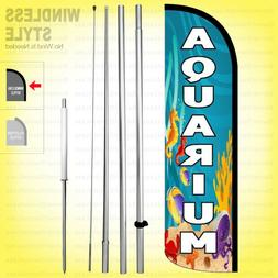AQUARIUM - Windless Swooper Flag Kit 15' Feather Banner Sign