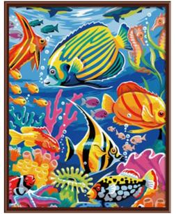 Colorful Aquarium Paint By Numbers Kits DIY Number Canvas Pa