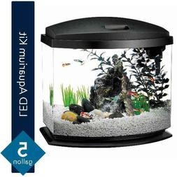 Aqueon MiniBow Aquarium LED Starter Kit, 5 Gallon, Black